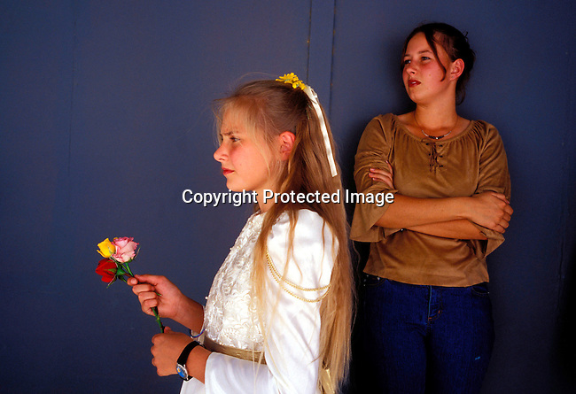 DIPOAFR00055.Culture Afrikaners Youth standing backstage before Miss Orania contest at the Orania Show, a yearly happening in this all white Afrikaner community in Northern Cape , South Africa..Photo: Per-Anders Pettersson/ iAfrika Photos