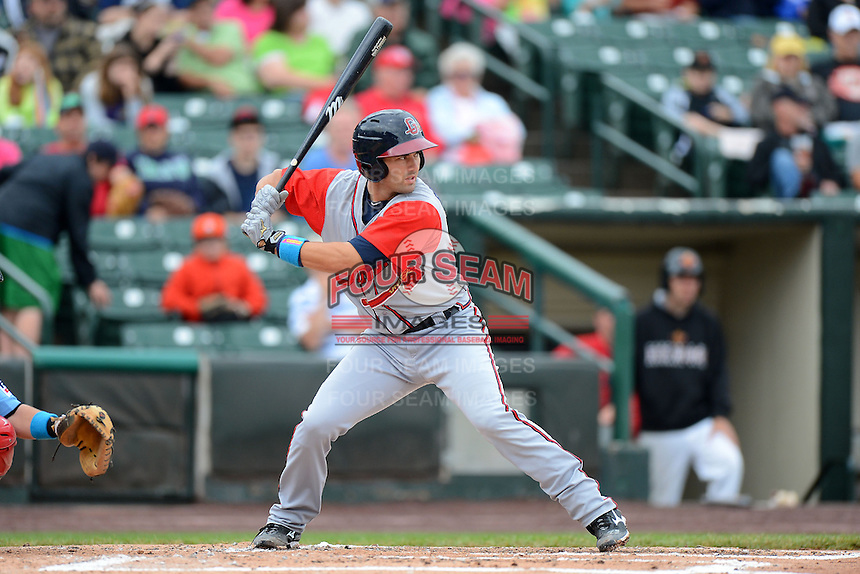 Gwinnett Braves catcher Matt Pagnozzi #19 during a game against the Rochester Red Wings on June 16, 2013 at Frontier Field in Rochester, New York.  Rochester defeated Gwinnett 6-3.  (Mike Janes/Four Seam Images)