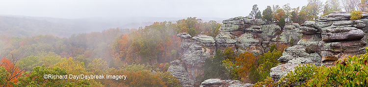 63895-15518 Camel Rock foggy fall day Garden of the Gods Recreation Area Shawnee National Forest IL
