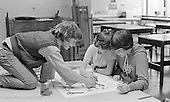 Students doing their artwork at the Education Centre, Wester Hailes, Scotland, 1979.  John Walmsley was Photographer in Residence at the Education Centre for three weeks in 1979.  The Education Centre was, at the time, Scotland's largest purpose built community High School open all day every day for all ages from primary to adults.  The town of Wester Hailes, a few miles to the south west of Edinburgh, was built in the early 1970s mostly of blocks of flats and high rises.