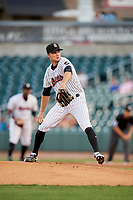Birmingham Barons starting pitcher Spencer Adams (12) delivers a pitch during a game against the Pensacola Blue Wahoos on May 8, 2018 at Regions FIeld in Birmingham, Alabama.  Birmingham defeated Pensacola 5-2.  (Mike Janes/Four Seam Images)
