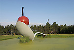 Minnesota, Twin Cities, Minneapolis-Saint Paul: Sculpture Spoonbridge and Cherry by Claes Oldenburg at the Minnesota Sculpture Garden next to the Walker Art Center..Photo mnqual211-74855..Photo copyright Lee Foster, www.fostertravel.com, 510-549-2202, lee@fostertravel.com.