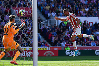 Stoke City's Jonathan Walters scores his sides first goal  <br /> <br /> Photographer Terry Donnelly/CameraSport<br /> <br /> The Premier League - Stoke City v Liverpool - Saturday 8th April 2017 - bet365 Stadium - Stoke-on-Trent<br /> <br /> World Copyright &copy; 2017 CameraSport. All rights reserved. 43 Linden Ave. Countesthorpe. Leicester. England. LE8 5PG - Tel: +44 (0) 116 277 4147 - admin@camerasport.com - www.camerasport.com