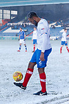Anton Walkes of Portsmouth during the stoppage in play,  with snow in his hair and beard. Oldham v Portsmouth League 1