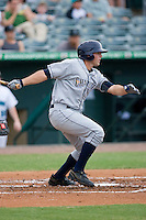 Jake Jefferies #8 of the Charlotte Stone Crabs follows through on his swing against the Jupiter Hammerheads at Roger Dean Stadium June 15, 2010, in Jupiter, Florida.  Photo by Brian Westerholt /  Seam Images