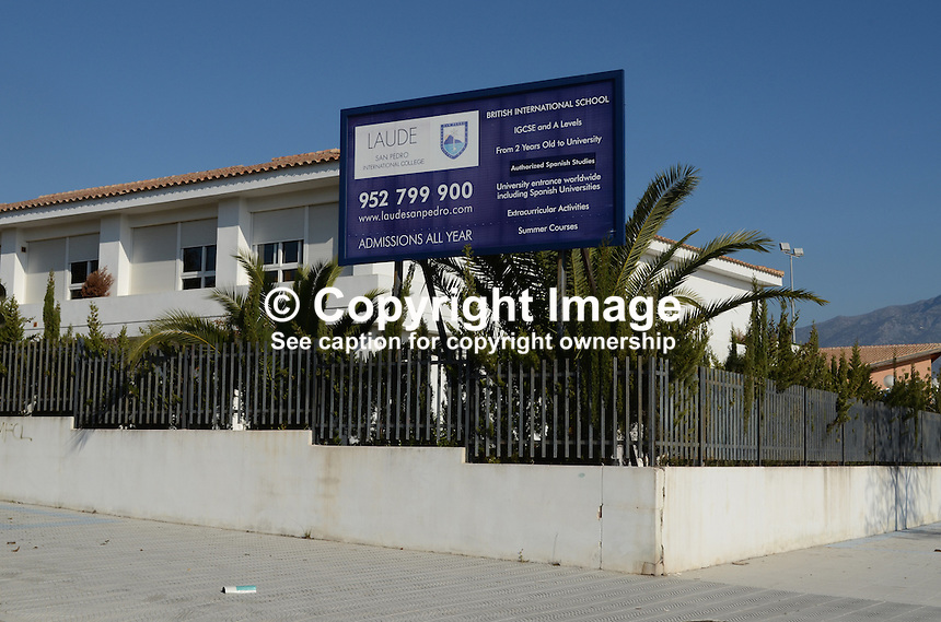 Signage, Laude British International School, San Pedro de Alcantara, Marbella, Costa del Sol, Spain, 201212131090..Copyright Image from Victor Patterson, 54 Dorchester Park, Belfast, UK, BT9 6RJ..Tel: +44 28 9066 1296.Mob: +44 7802 353836.Voicemail +44 20 8816 7153.Skype: victorpattersonbelfast.Email: victorpatterson@me.com.Email: victorpatterson@ireland.com (back-up)..IMPORTANT: If you wish to use this image or any other of my images please go to www.victorpatterson.com and click on the Terms & Conditions. Then contact me by email or phone with the reference number(s) of the image(s) concerned.