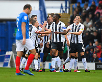 Tom Eaves of Gillingham is congratulated after scoring the first goal during Portsmouth vs Gillingham, Sky Bet EFL League 1 Football at Fratton Park on 6th October 2018