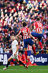 Stefan Savic (L) and Felipe Augusto de Almeida (R) of Atletico de Madrid during La Liga match between Atletico de Madrid and Sevilla FC at Wanda Metropolitano Stadium in Madrid, Spain. March 07, 2020. (ALTERPHOTOS/A. Perez Meca)