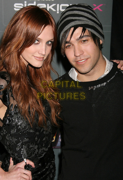 ASHLEE SIMPSON & PETE WENTZ.T-Mobile Sidekick LX Launch Party held at Paramount Studios, Hollywood, California, USA..May 14th, 2009.half length lace dress top sheer  black grey gray hat beanie striped stripes couple.CAP/ADM/MJ.©Michael Jade/AdMedia/Capital Pictures.