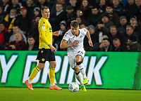 23rd November 2019; Liberty Stadium, Swansea, Glamorgan, Wales; English Football League Championship, Swansea City versus Millwall; Jack Bidwell of Swansea City brings the ball forward during the match - Strictly Editorial Use Only. No use with unauthorized audio, video, data, fixture lists, club/league logos or 'live' services. Online in-match use limited to 120 images, no video emulation. No use in betting, games or single club/league/player publications