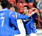 Carlos Bocanegra celebrates his goal with Kyle Lafferty