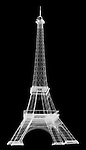X-ray image of a model Eiffel tower (white on black) by Jim Wehtje, specialist in x-ray art and design images.