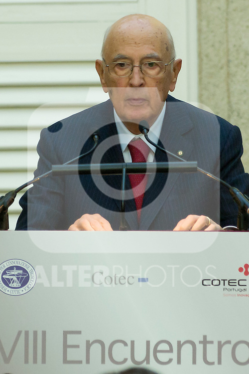 03.10.2012. VIII COTEC Europe Meeting, co-chaired by King Juan Carlos of Spain, the President of the Italian Republic, Giorgio Napolitano, and the President of the Portuguese Republic, Aníbal Cavaco Silva, at the Royal Palace of El Pardo, Madrid, Spain. In the image Giorgio Napolitano (Alterphotos/Marta Gonzalez)