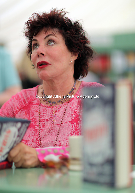 Pictured: Ruby Wax signing copies of her book 'Frazzled' Monday 30 May 2016<br />Re: Hay Festival, Hay on Wye, Wales, UK