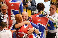EDWARD CLANCY and THOMAS GERAINT of Team Great Britain celebrate winning the Team Pursuit event on day 1 of the 2012 UCI Track Cycling World Championships at Hisense Arena in Melbourne, Australia. Photo Sydney Low. Copyright Sydney Low. All rights reserved. No reproduction permitted. Access via FlickrAPI not permitted.