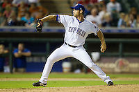 Round Rock Express pitcher Neal Cotts #56 delivers during the Pacific Coast League baseball game against the Omaha Storm Chasers on July 22, 2012 at the Dell Diamond in Round Rock, Texas. The Express defeated the Chasers 8-7 in 11 innings. (Andrew Woolley/Four Seam Images).