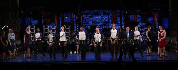 Ensemble Cast during the Curtain Call for the Roundabout Theatre Company presents a One-Night Benefit Concert Reading of 'Damn Yankees' at the Stephen Sondheim Theatre on December 11, 2017 in New York City.