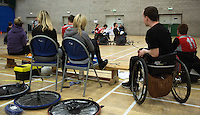 27 MAY 2013 - DONCASTER, GBR - Spectators and supporters watch the 2013 Great Britain Wheelchair Rugby Nationals 7th / 8th position decider between the North East Bulls and North Wales Dragons at The Dome in Doncaster, South Yorkshire .(PHOTO (C) 2013 NIGEL FARROW)