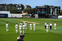 The Black Caps walk out for day four of the international cricket test between the NZ Black Caps and the West Indies at the Hawkins Basin Reserve in Wellington, New Zealand on Monday, 4 December 2017. Photo: Dave Lintott / lintottphoto.co.nz