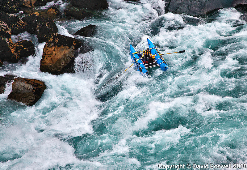 Rachael Moore of Bio Bio Expeditions runnig the Throne Room, a class V rapid on the Futaleufu River in Northern Patagonia, Chile.