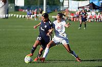 Kansas City, MO - Sunday September 04, 2016: Samantha Kerr, Katie Bowen during a regular season National Women's Soccer League (NWSL) match between FC Kansas City and the Sky Blue FC at Swope Soccer Village.