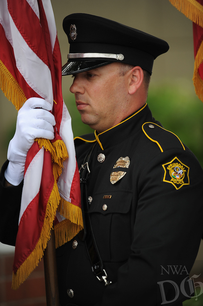 NWA Democrat-Gazette/ANDY SHUPE<br /> Wednesday, May 11, 2016, during a ceremony to remember area law enforcement officers killed in the line of duty in observance of National Law Enforcement Memorial Week at the Springdale Police Department.
