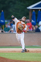 Asheboro Copperheads third baseman Skyler Geissinger (15) makes a throw to first base against the High Point-Thomasville HiToms at Finch Field on June 12, 2015 in Thomasville, North Carolina.  The HiToms defeated the Copperheads 12-3. (Brian Westerholt/Four Seam Images)