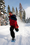 California: Northstar at Lake Tahoe, man snowshoeing.    Photo copyright Lee Foster.  Photo # cataho100487