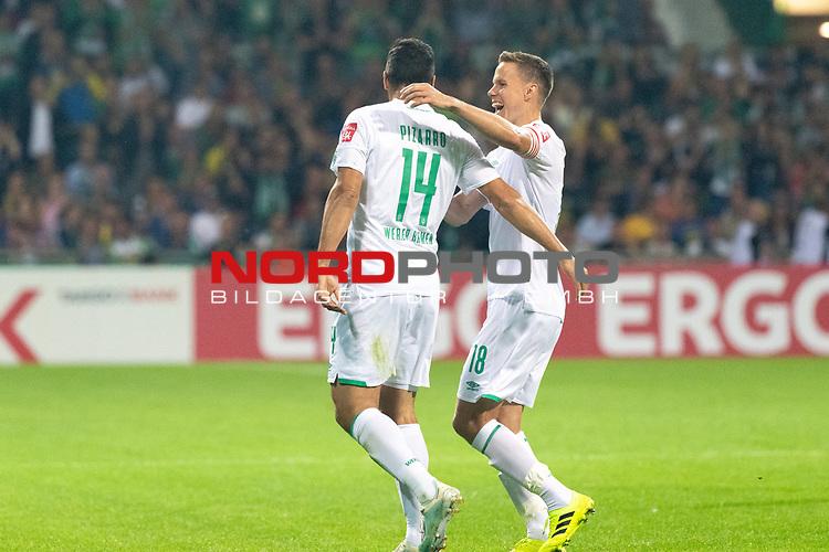 10.08.2019, wohninvest Weserstadion, Bremen, GER, DFB-Pokal, 1. Runde, SV Atlas Delmenhorst vs SV Werder Bremen<br /> <br /> DFB REGULATIONS PROHIBIT ANY USE OF PHOTOGRAPHS AS IMAGE SEQUENCES AND/OR QUASI-VIDEO.<br /> <br /> im Bild / picture shows<br /> <br /> Jubel Claudio Pizarro (Werder Bremen #14) nach dem 1:6  mit Niklas Moisander (Werder Bremen #18)<br /> <br /> Foto © nordphoto / Kokenge