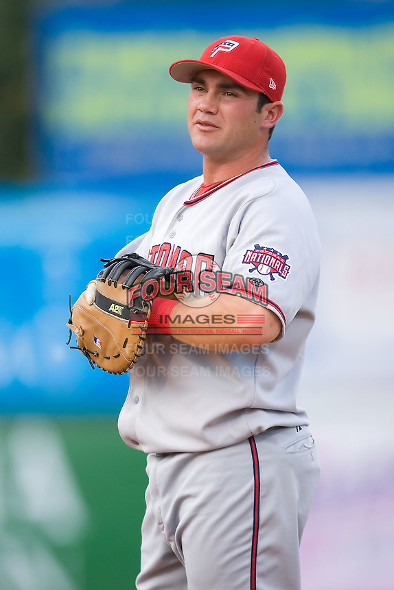 First baseman Andrew Lefave (11) of the Potomac Nationals on defense at Ernie Shore Field in Winston-Salem, NC, Saturday August 9, 2008. (Photo by Brian Westerholt / Four Seam Images)