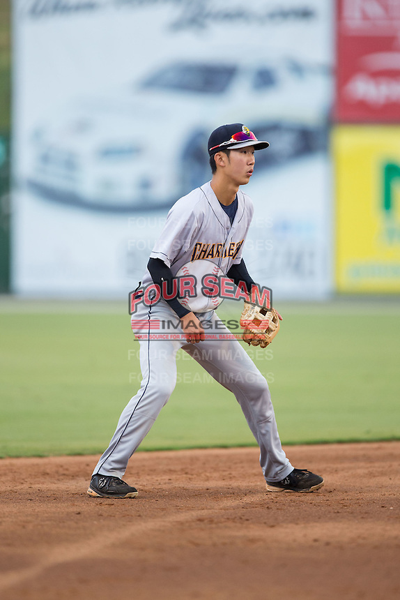 Charleston RiverDogs shortstop Hoy Jun Park (1) on defense against the Kannapolis Intimidators at Kannapolis Intimidators Stadium on August 3, 2016 in Kannapolis, North Carolina.  The Intimidators defeated the RiverDogs 8-4.  (Brian Westerholt/Four Seam Images)
