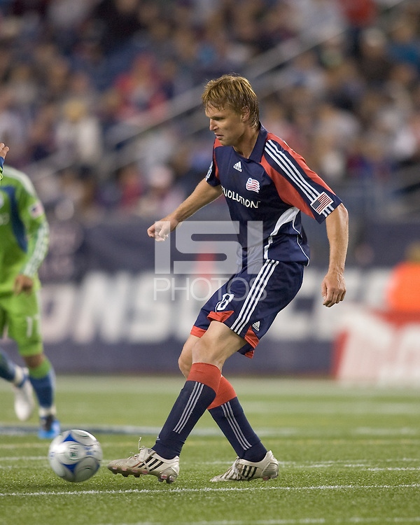 New England Revolution forward Edgaras Jankauskas (10) passes the ball. The New England Revolution defeated Seattle Sounders, 2-1, at Gillette Stadium on September 26, 2009.