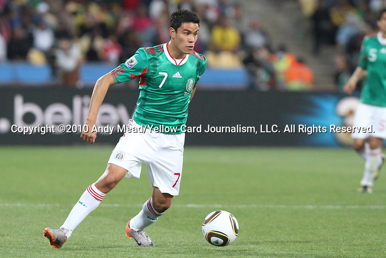 22 JUN 2010: Pablo Barrera (MEX). The Mexico National Team lost 1-2 to the Uruguay National Team at Royal Bafokeng Stadium in Rustenburg, South Africa in a 2010 FIFA World Cup Group A match.