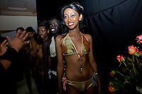 Contenders for the crown line up backstage getting ready for a group display on the catwalk during the 2009 MIss Ethiopia beauty pageant held at the Intercontinental Hotel in Ethiopia's Capital Addis Ababa on Sunday January 18 2009.