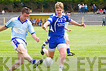 Michael Kean (St Senans) in action with Morgan O'Sullivan (Renard) n the County League Div 5 round 7 at St Senans GAA Grounds, Mountcoal, on Sunday.