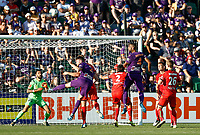 11th January 2020; HBF Park, Perth, Western Australia, Australia; A League Football, Perth Glory versus Adelaide United; Gregory Wuthrich of the Perth Glory rises to head the ball from a cross but misses the target - Editorial Use
