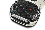 Car Stock 2015 MINI Cooper Hardtop S 4 Door Hatchback Engine high angle detail view