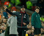 Jurgen Klopp manager of Liverpool rages at the linesman  during the UEFA Champions League match at Anfield, Liverpool. Picture date: 27th November 2019. Picture credit should read: Andrew Yates/Sportimage