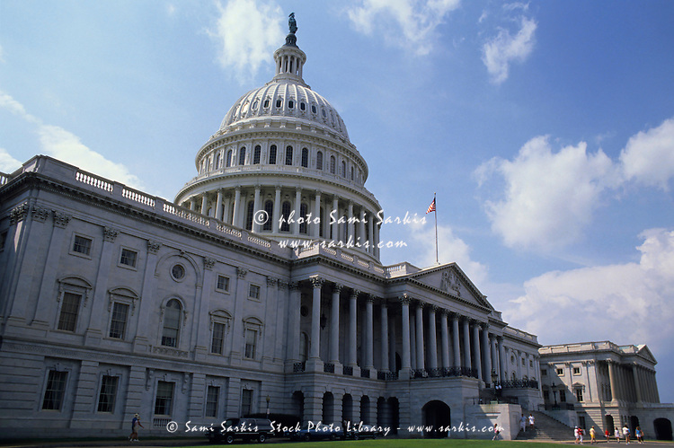 Iconic dome and neo-classical architecture of the Capitol Building, Washington DC, USA.