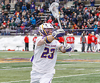 University at Albany Men's Lacrosse defeats Cornell 11-9 on Mar 4 at Casey Stadium.  Jack Burgmaster (#23).