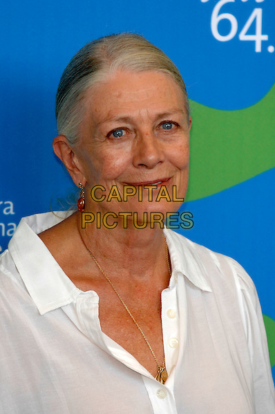 "VANESSA REDGRAVE.Photocall for ""Atonement"" at the 64th Venice Film Festival, .La Biennale di Venezia, Venice, Italy..August 29th, 2007.headshot portrait amber earrings .CAP/PL.©Phil Loftus/Capital Pictures"