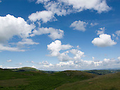 Cumulus clouds above the Lake District, Cumbria, UK.
