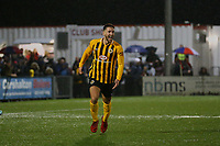 Andi Thanoj of Boston United scores the third goal for his team and celebrates during Carshalton Athletic vs Boston United, Emirates FA Cup Football at the War Memorial Sports Ground on 9th November 2019