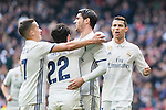 Alvaro Morata, Lucas Vazquez , Cristiano Ronaldo  and Isco Alarcon  of Real Madrid celebrates after scoring a goal during the match of La Liga between Real Madrid and RCE Espanyol at Santiago Bernabeu  Stadium  in Madrid , Spain. February 18, 2016. (ALTERPHOTOS/Rodrigo Jimenez)