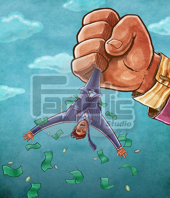 Illustrative image of hand holding businessman's legs while money falling down from his pockets against sky