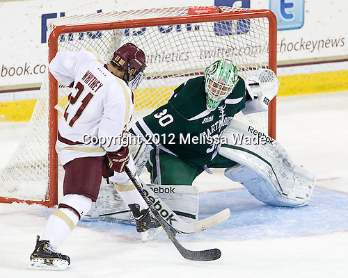 Steven Whitney (BC - 21), Charles Grant (Dartmouth - 30) - The Boston College Eagles defeated the visiting Dartmouth College Big Green 6-3 (EN) on Saturday, November 24, 2012, at Kelley Rink in Conte Forum in Chestnut Hill, Massachusetts.