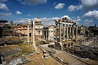 Rome 2010..Roman Forum, view from Campidoglio..Foro Romano-Palatino