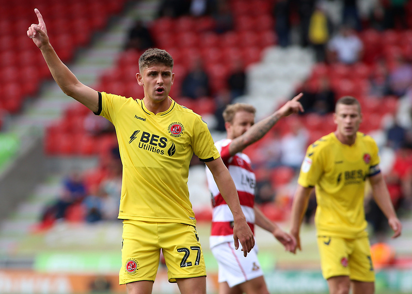 Fleetwood Town's Harrison Biggins in action<br /> <br /> Photographer David Shipman/CameraSport<br /> <br /> The EFL Sky Bet League One - Doncaster Rovers v Fleetwood Town - Saturday 17th August 2019  - Keepmoat Stadium - Doncaster<br /> <br /> World Copyright © 2019 CameraSport. All rights reserved. 43 Linden Ave. Countesthorpe. Leicester. England. LE8 5PG - Tel: +44 (0) 116 277 4147 - admin@camerasport.com - www.camerasport.com