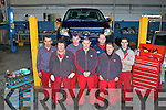 Busy machanics at Bowlers Garage l-r: Michael looney, Richard Fogarty, James Fitzgerald, Keith Marshall, Slawo Matykiewicz, John Moynihan and Johnaton O'Connor
