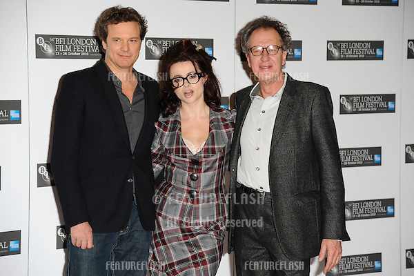 "Colin Firth, Helena Bonham Carter and Geoffrey Rush at the press conference of ""The King's Speech"" as part of the 2010 London Film Festival, at the Vue cinema, Leicester Square, London.  21/10/2010  Picture by: Steve Vas / Featureflash"